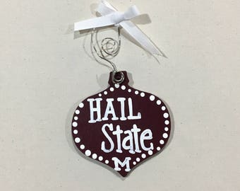 Maroon and white Christmas Ball Ornament - ready to ship