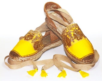Platform yellow espadrilles sandals with golden embroidery sequins. Organic cotton. Alpargatas Made in Spain