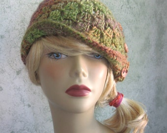 Crochet Pattern Womens Hat With Side Button Trim Instant Download  Teen -Adult Multi-Sized Pattern