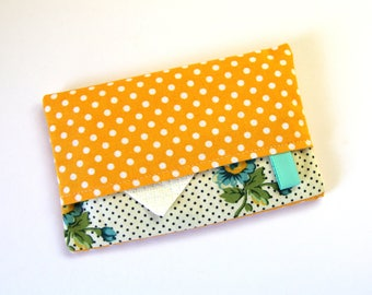 Travel Tissue Holder, Pocket tissue holder, Fabric tissue cover, Tissue pouch, tissue case, White Polka Dots on Yellow, Blue Flowers