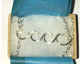 Ocean Waves Necklace, Silver Plated