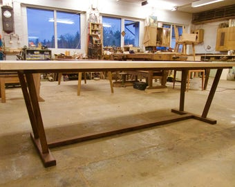 Unique maple table with walnut frame