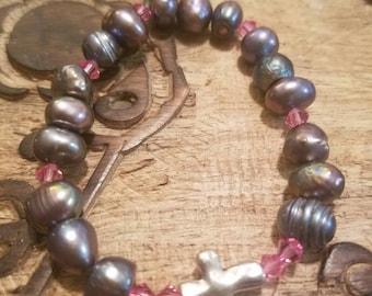 Grey Pearl Bracelet with Pink Swarovskis
