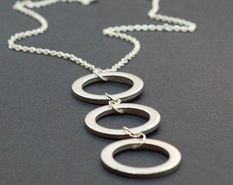 Geometric Circle Necklace- Upcycled Silver Washer Necklace, Found Object Jewelry, Geometric Jewelry, Modern Jewelry, Hardware Jewelry