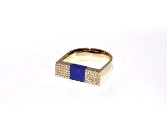 Yellow Gold Pave Diamond Lapis Lazuli U-Shaped Ring