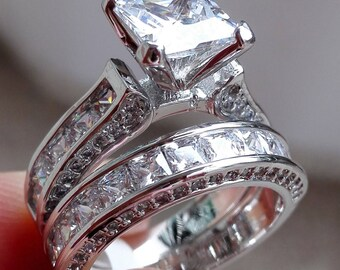 Princess White Cz 925 Sterling Silver Wedding Band Engagement Ring
