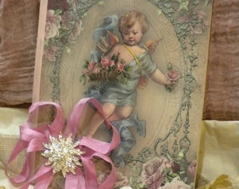 Altered Journal Shabby Chic Beautiful Victorian Angel