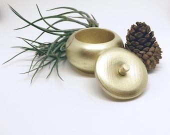 Metallic Gold Ring Box, Wood Honeypot Dish, Jewelry Box, Gold Jewelry Display Box, Jewelry Bowl, Ring Dish, Gift for Her