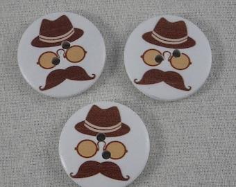Boutons028 - Boutons en bois motif homme avec chapeau lunettes et moustache