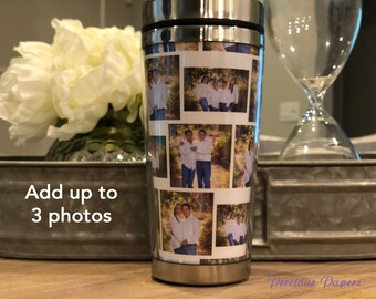 Personalized photo travel mug with lid - photo coffee cup, photo cups, photo gifts, photo coffee mug, mothers day gifts, fathers day gifts.