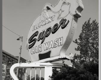 Seattle Photo, Seattle photography, Seattle print, Elephant Car Wash, black and white photo