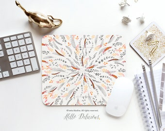 """Feather Mousepad """"Feather Roll"""" by Iveta Abolina Mousepad Mouse Mat Native Mouse Pad Office Mousemat Heart Mousemat Print Mousepad Round I98"""