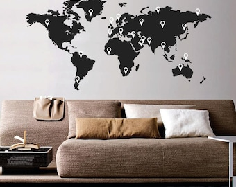 World Map Wall Sticker decal With Pointers