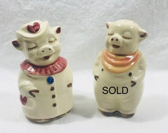 """Shawnee Pottery 5"""" Smiley and Winnie Pig Salt and Pepper Shakers (sold separately)"""