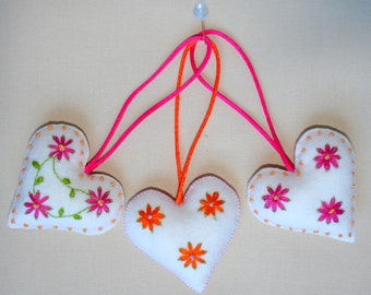Heart of felt  with lovely embroidered flowers
