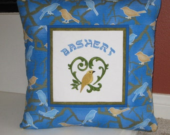 Bashert Jewish Yiddish Soulmate Embroidered Decorative Pillow Cover 16 inch Blue