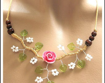 Pink Flower necklace white seed beads and green leaves