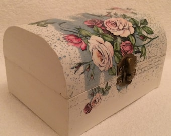 Storage Box, Chest storage box, floral home decor, jewellery box, Memory Box, Trinket Box, Dressing Table box, Wooden Box, white box