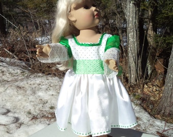 "18"" green and white doll party dress, green polka dotted doll dress, tea length doll dress, long sleeved green & white dress, ribbon belt"