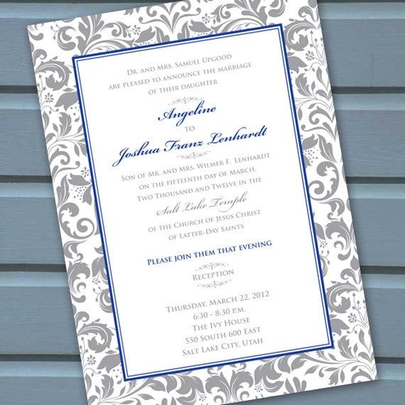wedding invitations, bridal shower invitations, silver wedding invitations, silver bridal shower invitations, wedding shower invites, IN129