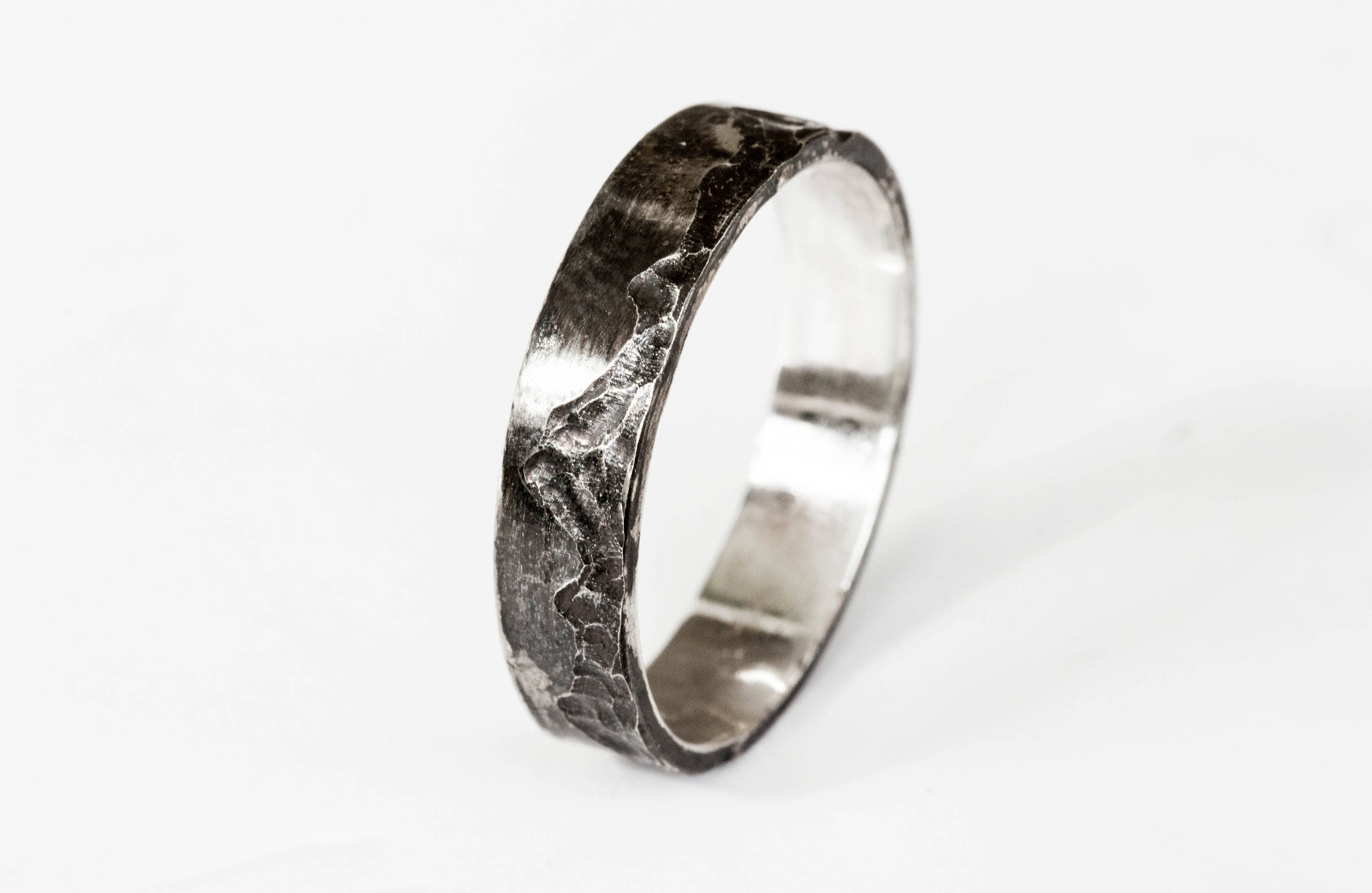 Mountain sterling silver mens wedding band sterling silver