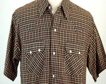 1970s western shirt DEE CEE BRAND plaid shirt cowboy shirt pearl button snaps Size L