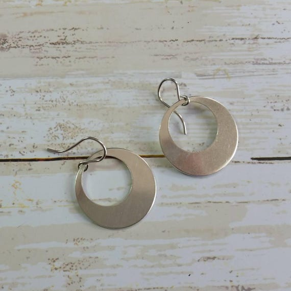 Sterling Silver Disk Earrings Hoop Dangle Earrings