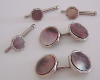 Art Deco Swank Abalone Cuff Links & Shirt Studs * Mens Dress Set  * Formal Wear * Tuxedo * Designer Signed * Vintage Jewelry * Wedding