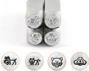 Dog and Cats Combo Metal Stamp ImpressArt-6mm  Design Stamp-Perfect for Your Hand Stamping Needs-Steel Stamps-Metal Supply Chick