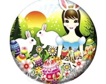 1 cabochon 25mm domed glass cabochon Easter egg bunnies image shown