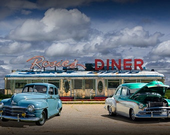 Historic Rosie's Diner with Vintage Automobiles near Rockford Michigan No.83035 Color Wall Decor Fine Art 50's Diner Car Photography