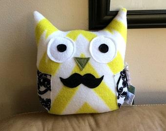 Mr Mustache Owl Plushie- Plush Mustache Owl- Yellow-Black-White Plush Owl