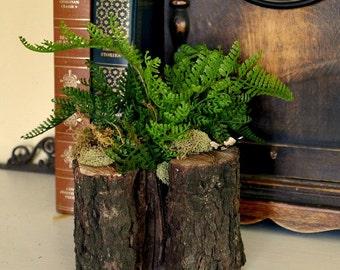 Faux Spring Fern Arrangement in Wood
