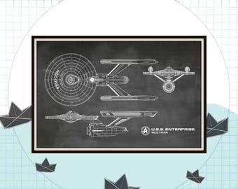 Star Trek Enterprise Blueprint Art of USS Enterprise NCC-1701-A Technical Drawings Engineering Drawings Patent Blue Print Art Item 0222C