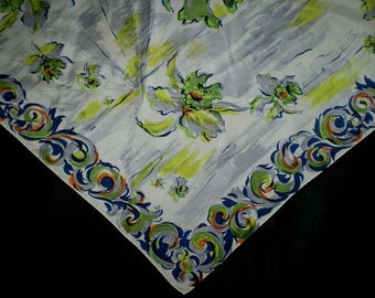 Vintage 50s Large Triangle Scarf Iris Watercolor Print