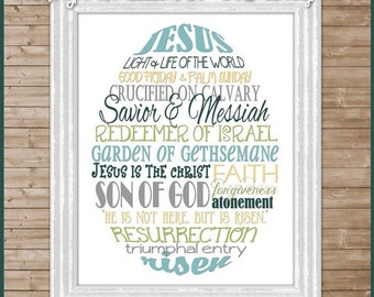 EASTER Egg Subway Art, Religious SAVIOR Christian -  Printable INSTANT Download