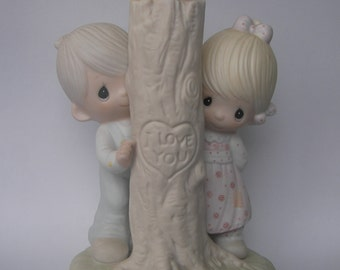 """Precious Moments """"Thee I Love"""" Porcelain Figurine - Enesco - Vintage Collectible - Tree Carving - I Love You - Retired - Original Box"""