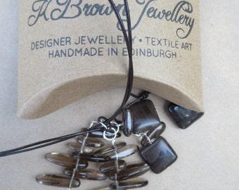 Gemstone Lariat Necklace, Beaded YNecklace, Edinburgh Jewellery Designer, Handmade Gemstone Lariat, Agate Lariat, Quartz YNecklace, Scotland