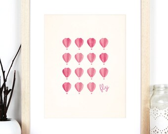 Hot Air Balloon Print 'Fly', Pink and Cream Art Print
