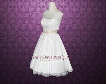 Modest Retro 50s Tea Length Wedding Dress with Round Neck Sewn Petticoat | Gena
