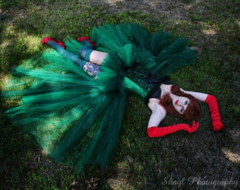 Poison Ivy Adult tutu skirt Cosplay Formal bustle trail bridal wedding dance costume dark green -- You Choose Size -- Sisters of the Moon
