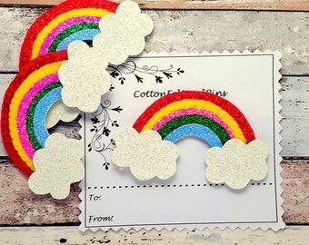 Rainbow, Rainbow hair clip, glitter rainbow, Primary colors glitter Rainbow hair clip, glitter Rainbow hair slide