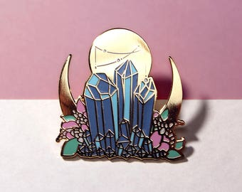Celestial Alchemy Gold Plated Enamel Pin // FREE AU Shipping // Witchy Kitsch Crystal Mineral Flower Magic Pastel Moon Lunar