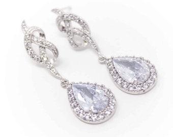 Bridal Earrings Cubic Zirconia Teardrop and Knot Wedding Earrings