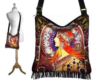 Hippie Bag Hobo Purse Crossbody Slouch Bag Gyspy Boho Fringe Bag, Alphonse Mucha Zodiac, Art Nouveau, Woman, blue orange RTS