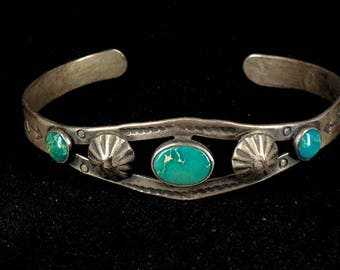 Vintage Old Fred Harvey Era Cuff Bracelet Sterling Silver with Turquoise and Silver Work Stamping