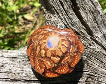 RAINBOW MOONSTONE~ Pinecone Necklace