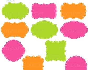 Frames Clipart Set - clip art set of digital frames, labels, tags, green, pink - personal use, small commercial use, instant download