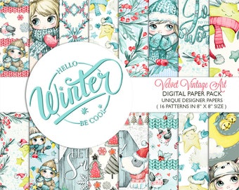 Hello Winter Digital Paper Pack, Christmas Digital Paper, Christmas Scrapbook, Christmas Backgrounds, Christmas Card, Winter Backgrounds 8x8
