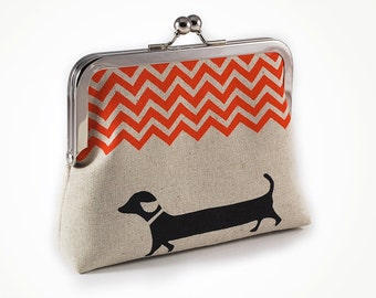 Dachshund purse with orange chevron